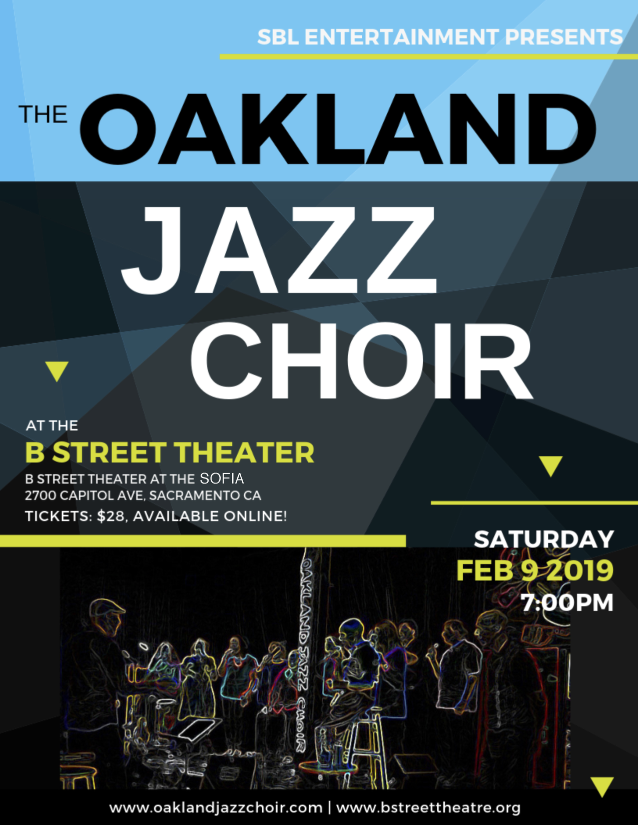 Oakland Jazz Choir at the B Street Theater Sacramento: February 9, 2019 at 7pm