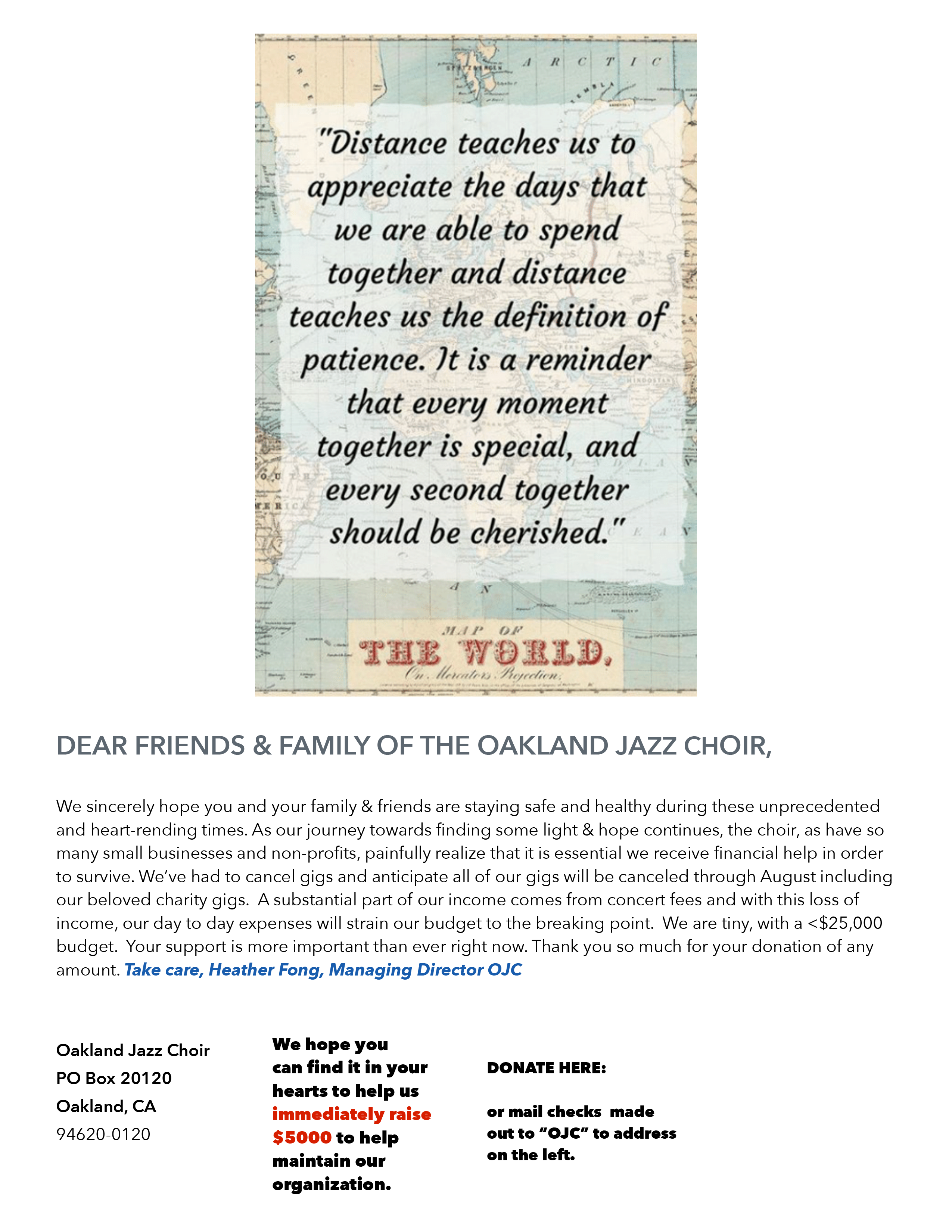 Please Donate and Support the Oakland Jazz Choir!
